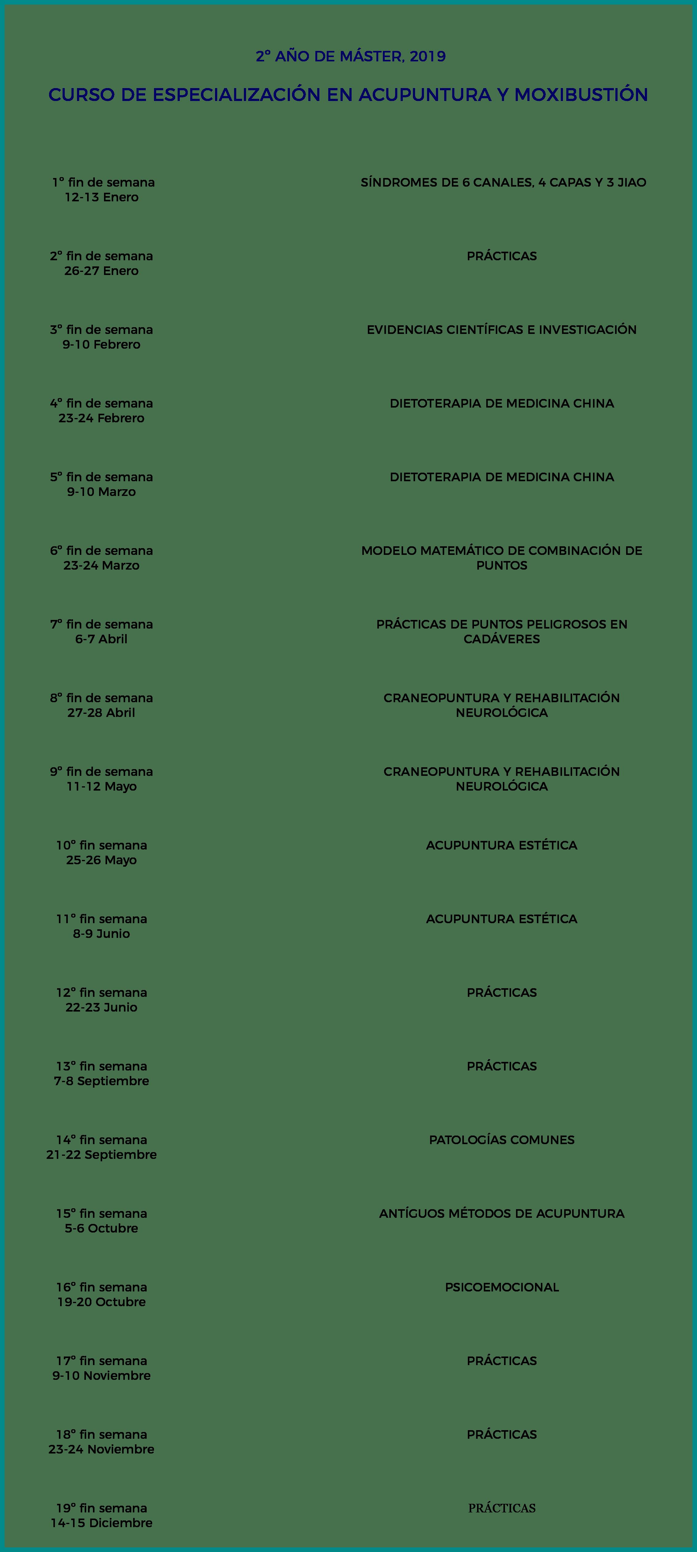 calendario máster segundo año