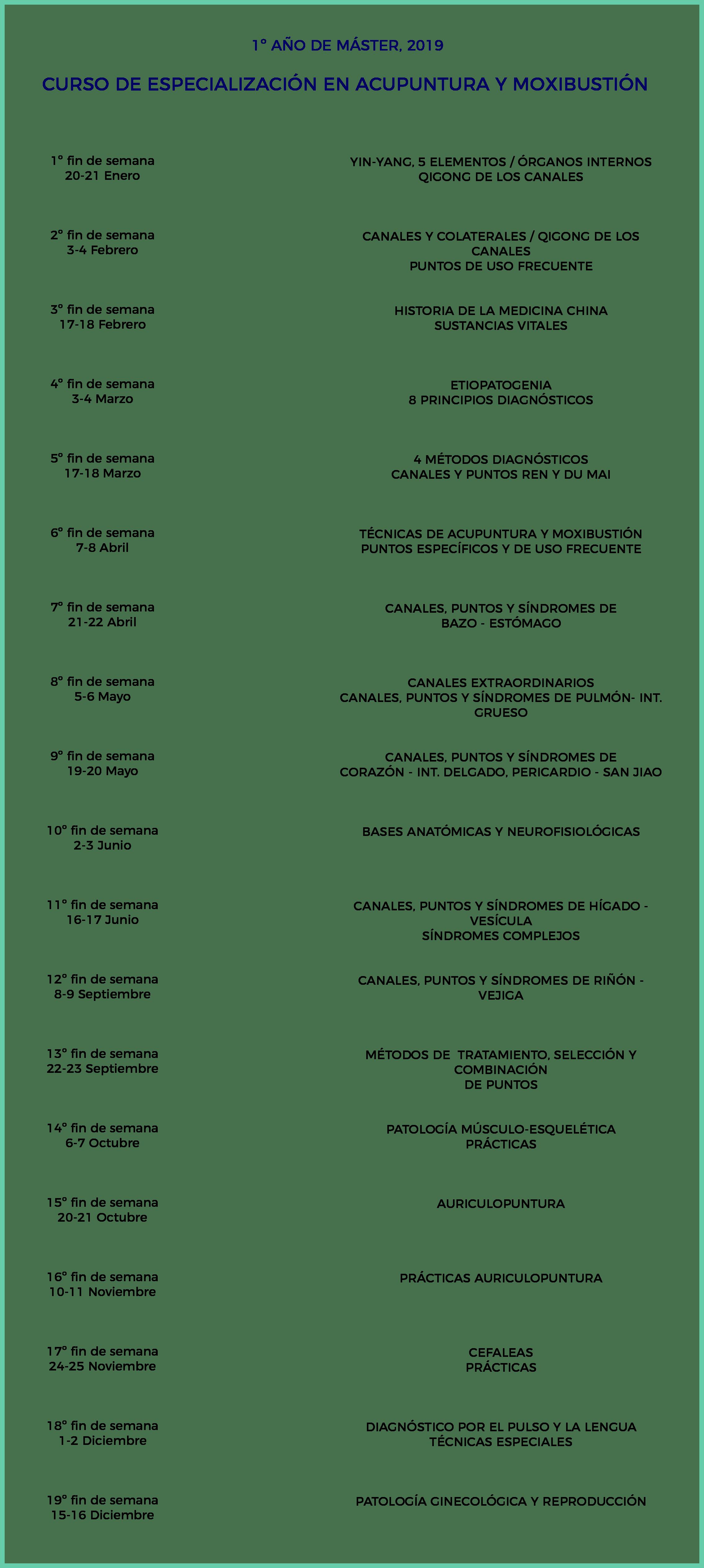calendario máster acupuntura 1º año